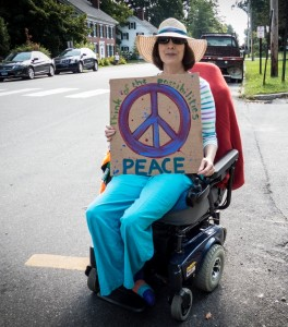 Neva Allen, Festival Founder, ready for Saturday's Peace Walk